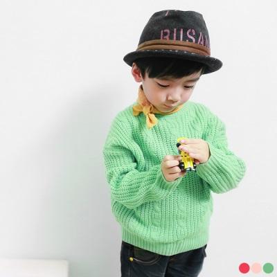0415新品 注目品味/親子系列~素色麻花落肩針織長版上衣.童3色
