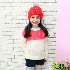 0915新品 針織/親子裝系列~雙色菱型麻花落肩針織上衣.童3色