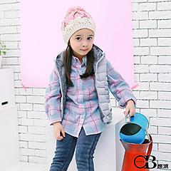 0915新品 清新怡人/親子系列~格紋拼緹花內門襟長版襯衫.童2色