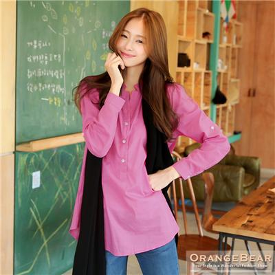 【春夏斷碼♥2件59折】時尚Lady~V字領排釦反折袖造型棉質長版襯衫‧5色
