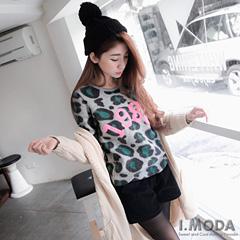 1024新品 俏皮無限~豹紋仿毛料數字繡線裝飾羅紋上衣.2色