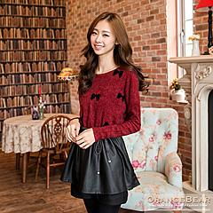 1021新品 甜美風格~仿毛料蝴蝶結縮腰拼接皮革裙長版上衣.2色