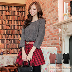 1028新品 雅緻格調~素色質感仿毛料七分袖長版上衣.3色