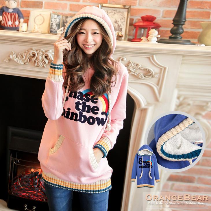 0橘熊科技股份有限公司129新品 可愛溫暖~內輕刷毛英文繡線羅紋滾邊連帽長版上衣.2色