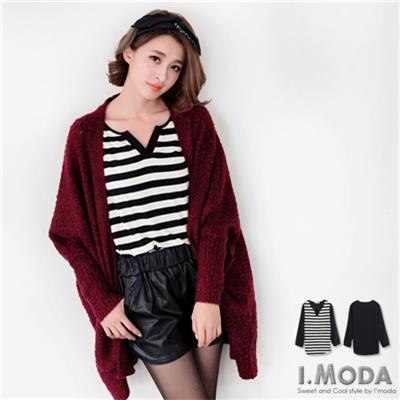 簡約時髦~V領條紋拼異材質雙面料反折袖長版上衣.2色