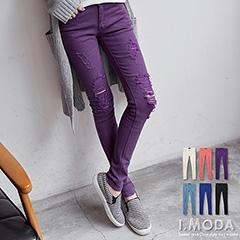 1022新品 破感時尚~鉚釘飾口袋刷破牛仔窄管褲‧6色