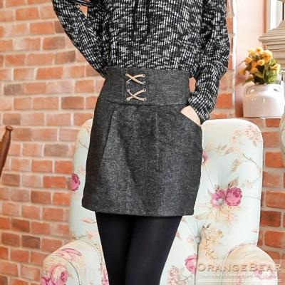 合身美型~高腰交叉綁帶裝飾打褶設計短裙.3色