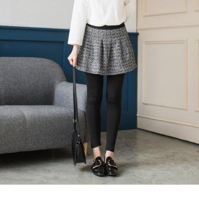 0206新品 雅緻暖感~內磨毛質感毛料小短裙假兩件式內搭褲