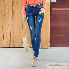0126新品 極致美型~破損感刷色彈性修身牛仔褲