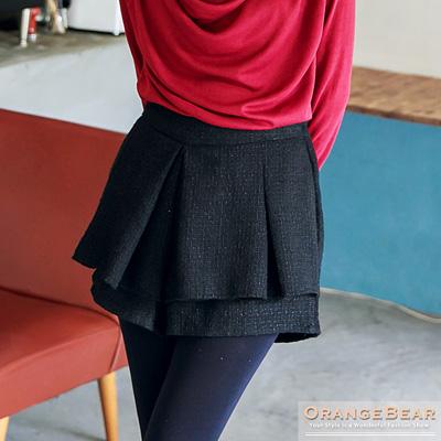 甜氣美感~質感毛呢打褶層次感短褲.2色