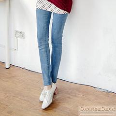 0224新品 顯瘦美型~仿牛仔刷色高彈力修身長褲.2色
