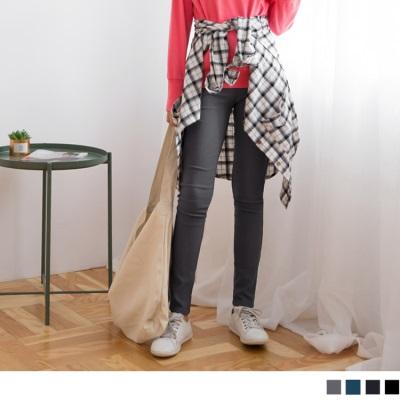 指標美型~纖腰剪裁顯瘦彈力磨毛窄管褲•4色