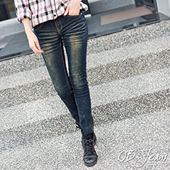 0722新品 自然暈染洗色嚴選韓版牛仔窄管褲