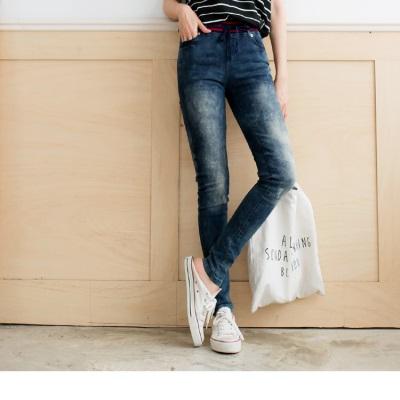 0622新品 嚴選韓版愛心拼布彈性腰圍刷色牛仔褲