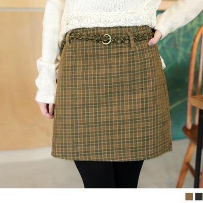 雅緻品味~附腰帶格紋修身窄裙.2色