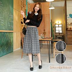 1020新品 輕甜可愛~大/小格紋腰頭細摺過膝裙.2色