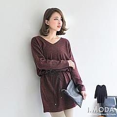 1022新品 品味質感~V領毛料落間修身長版上衣.2色