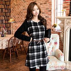 1023新品 法式優雅~格紋混毛料異材質拼接長袖洋裝