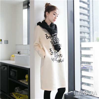 1105新品 內輕刷毛英文燙印長袖洋裝.2色