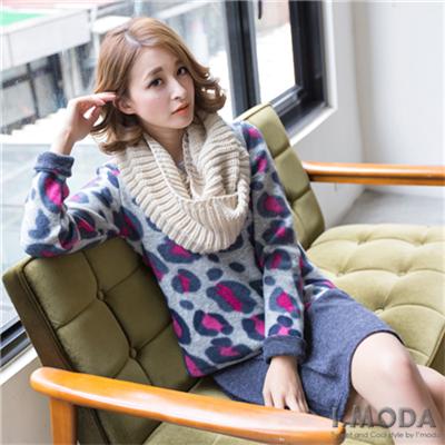 0122新品 溫暖巧思~假兩件磨毛豹紋X仿毛料內搭洋裝.2色