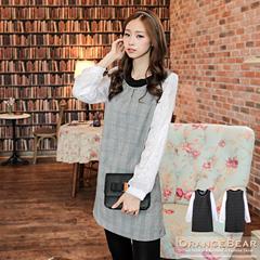 1023新品 甜美女孩~格紋拼接小花透膚袖珍珠領圍長版上衣/洋裝.2色