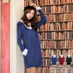 0128新品 知性氣質~假兩件式有領仿毛料雙口袋長版上衣.3色
