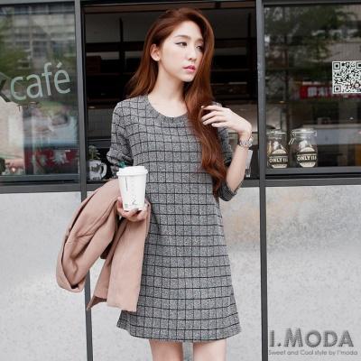 1201新品 氣質輪廓~格紋質感面料雙口袋洋裝.3色