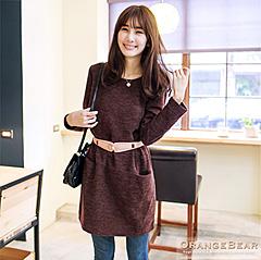 1017新品 完美質感~混毛料素雅剪接雙口袋洋裝.2色