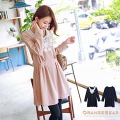 1113新品 甜美氣質~高腰打褶剪裁布蕾絲裝飾洋裝.2色