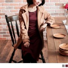 0316新品 優雅輕曲~高腰剪接金屬色釦飾長袖洋裝.2色