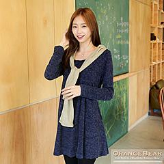 1027新品 雅緻美感~質感仿毛料打褶傘襬腰帶長版上衣.2色