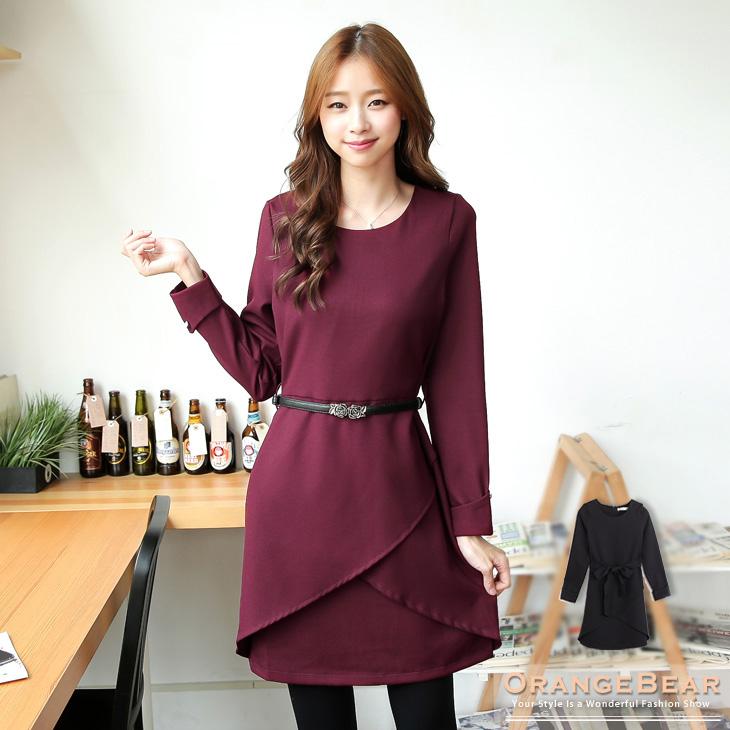 1217新品 浪漫女郎~附腰帶高腰斜蓋層次立體剪裁洋裝.2色