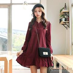 1125新品 時髦可愛~格紋開襟細摺傘襬澎澎袖洋裝.2色