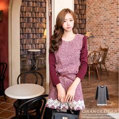 1021新品 質感優美~仿毛料拼素色袖下襬布蕾絲裝飾洋裝.2色