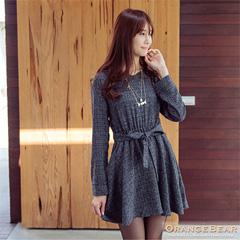 1124新品 精緻風韻~附綁帶質感面料開襟高腰鬆緊洋裝.2色