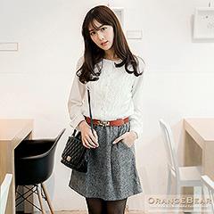1117新品 柔美氣質~布蕾絲花邊X質滿面料下襬開襟洋裝.2色