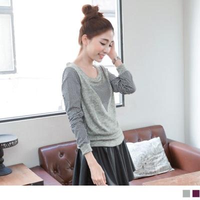 0209新品 個性率搭~仿毛料mix格紋袖拼接皮革裙洋裝.2色