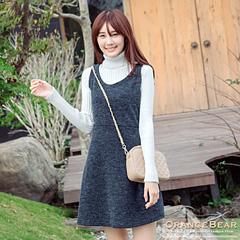 1121新品 簡約氣質~仿毛料羅紋高腰剪裁無袖洋裝.3色