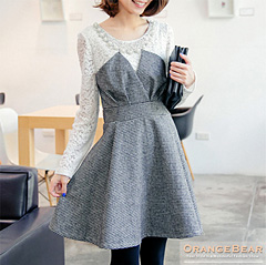 1124新品 優雅時髦~千鳥格拼接布蕾絲高腰V型胸褶洋裝.2色