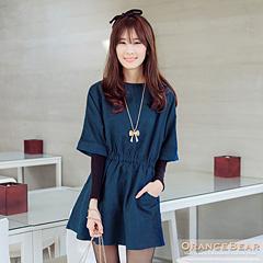 1118新品 雅緻風情~仿皮絨面料連袖高腰鬆緊長版上衣.2色