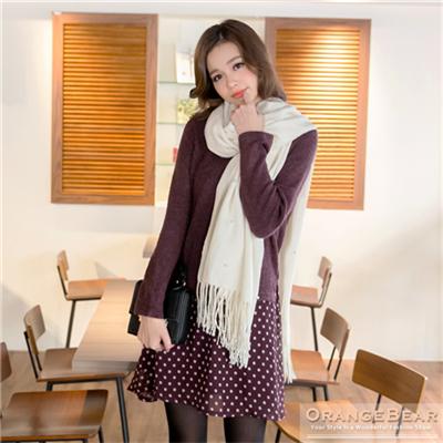 0213新品 復古氣質~假兩件式仿毛料上衣拼接圓點雪紡洋裝.2色