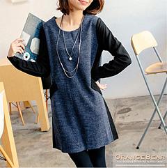 0129新品 優雅恬靜~質感仿毛料撞色雙口袋長版上衣/洋裝.3色