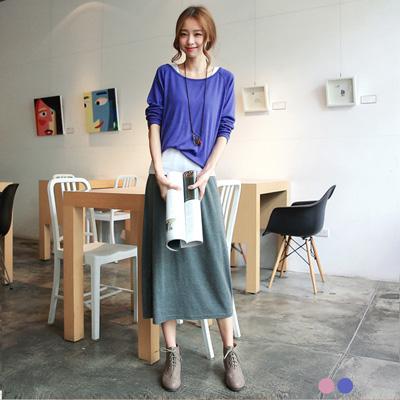 0202新品輕雅格調~假兩件式色彩層次感長版洋裝.2色