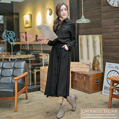 1113新品 氣質格調~質感斜紋布抽繩反折袖長版襯衫洋裝.2色