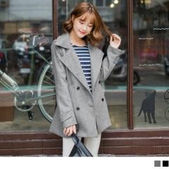 1027新品 俐落暖感~可拆針織連帽顯瘦翻領外套‧2色
