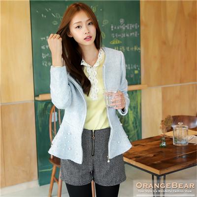 高端氣質~混毛料高腰圓襬珍珠裝飾外套.3色
