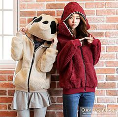 1027新品 可愛搶眼~仿毛料貓熊造型羅紋連帽外套.2色