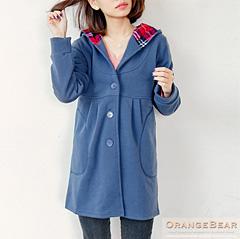 1117新品 女孩休閒~內刷毛條紋雙口袋格紋連帽裡長版外套.3色