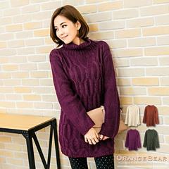 1020新品 微甜暖味~高領粗麻花針織長版毛衣.4色