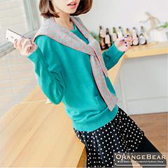 【冬日小確幸♥任選58折】可愛巧搭~附點點披肩素色雙口袋針織上衣.3色